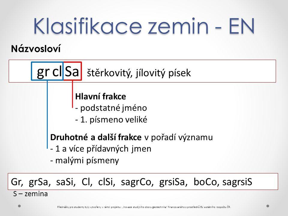 """Klasifikace zemin - EN Přednášky pro studenty byly vytvořeny v rámci projektu: """"Inovace studijního oboru geotechnika financovaného z prostředků EU a státního rozpočtu ČR."""