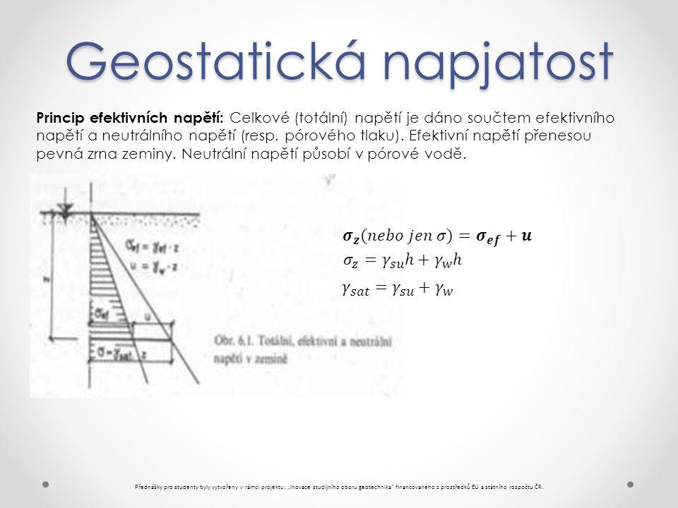 """Geostatická napjatost Přednášky pro studenty byly vytvořeny v rámci projektu: """"Inovace studijního oboru geotechnika financovaného z prostředků EU a státního rozpočtu ČR."""