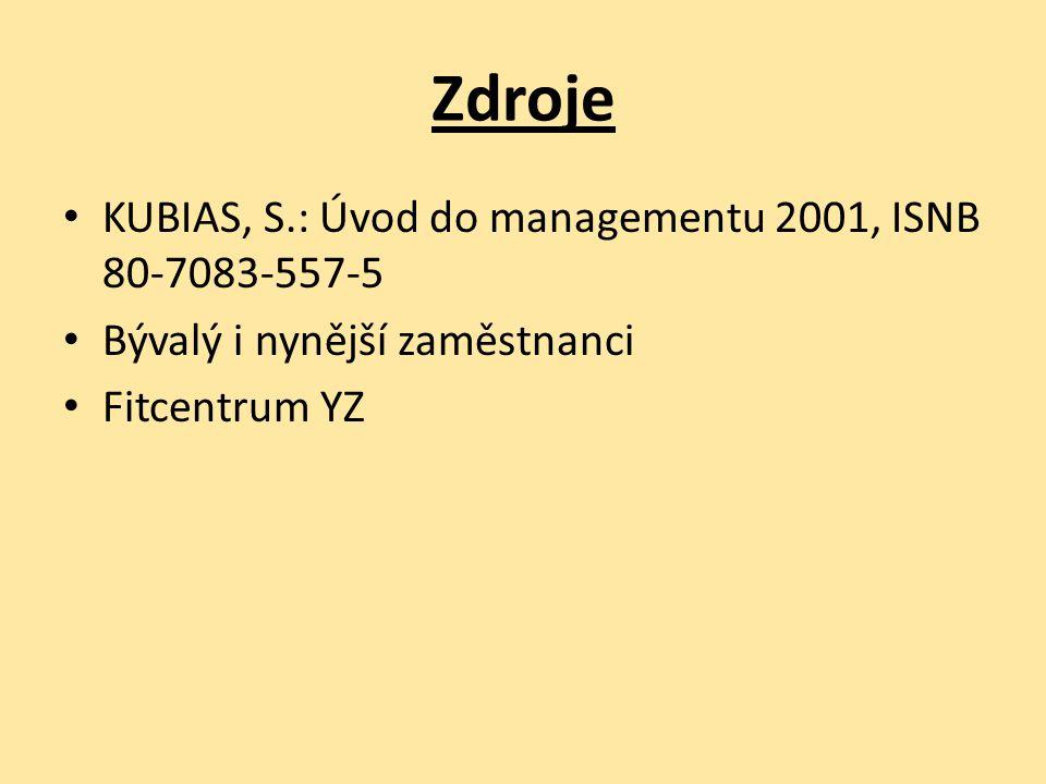 Zdroje KUBIAS, S.: Úvod do managementu 2001, ISNB 80-7083-557-5 Bývalý i nynější zaměstnanci Fitcentrum YZ