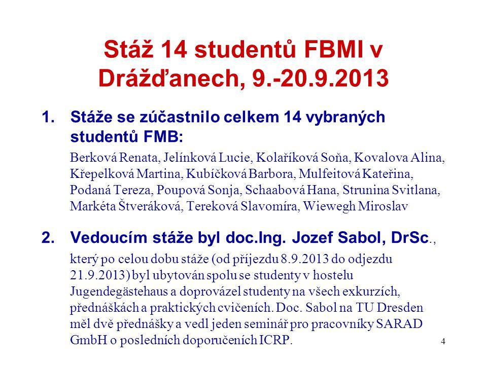 Stáž 14 studentů FBMI v Drážďanech, 9.-20.9.2013 1.Stáže se zúčastnilo celkem 14 vybraných studentů FMB: Berková Renata, Jelínková Lucie, Kolaříková S