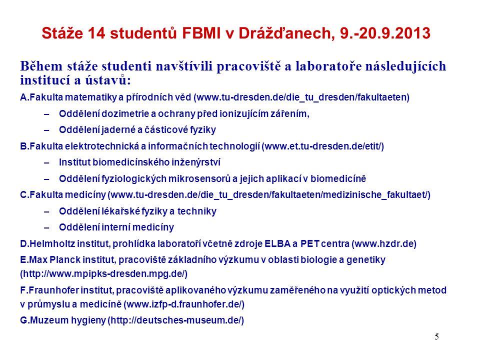 Stáže 14 studentů FBMI v Drážďanech, 9.-20.9.2013 Během stáže studenti navštívili pracoviště a laboratoře následujících institucí a ústavů: A.Fakulta