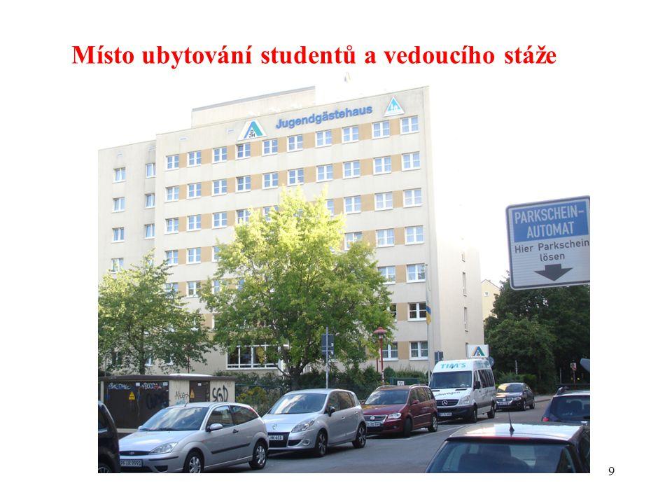 9 Místo ubytování studentů a vedoucího stáže