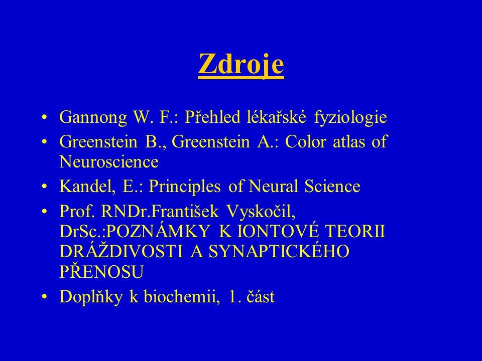 Zdroje Gannong W. F.: Přehled lékařské fyziologie Greenstein B., Greenstein A.: Color atlas of Neuroscience Kandel, E.: Principles of Neural Science P
