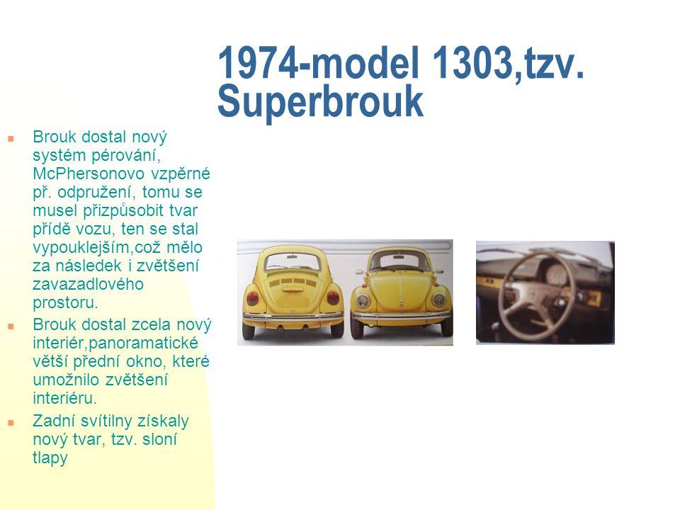 9 1974-model 1303,tzv. Superbrouk Brouk dostal nový systém pérování, McPhersonovo vzpěrné př.