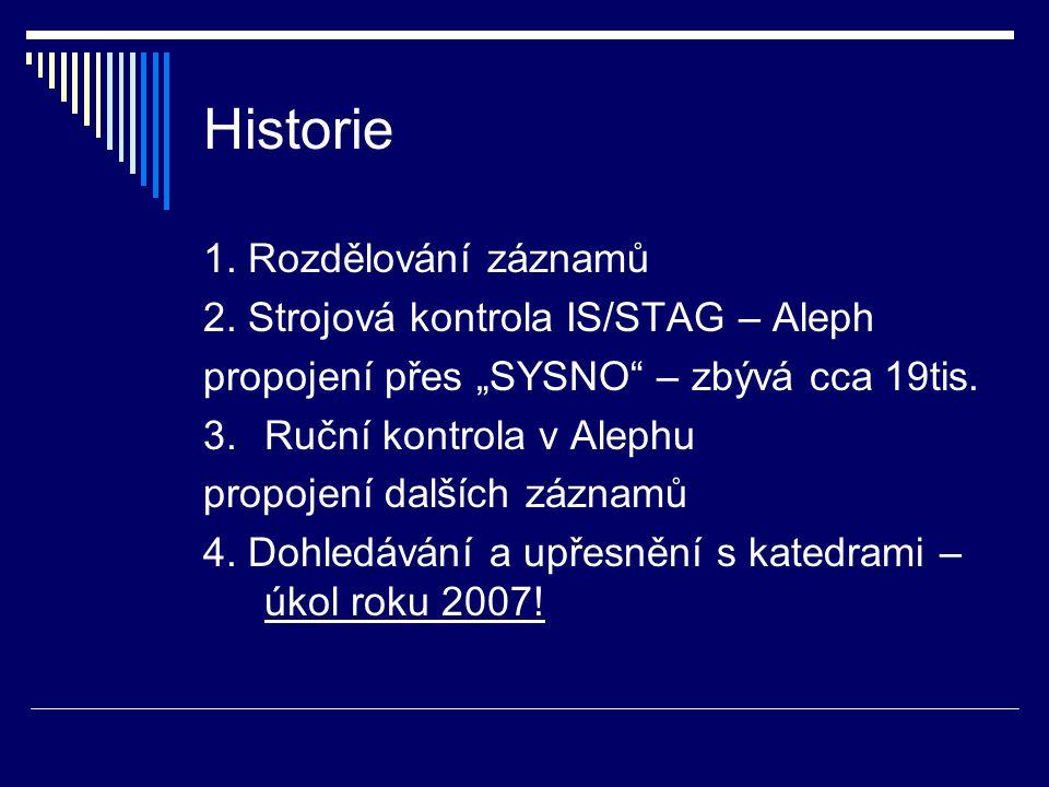 Historie 1. Rozdělování záznamů 2.