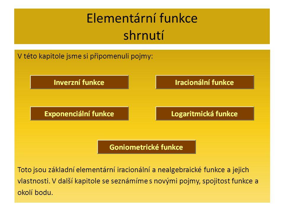 Elementární funkce shrnutí V této kapitole jsme si připomenuli pojmy: Toto jsou základní elementární iracionální a nealgebraické funkce a jejich vlast