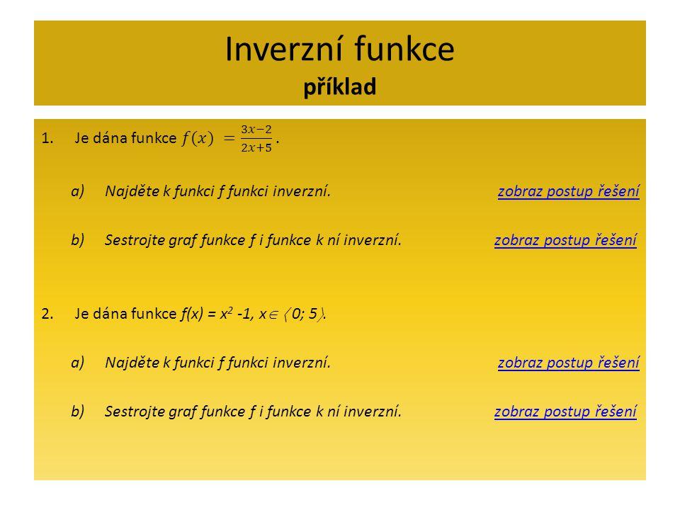 Inverzní funkce příklad