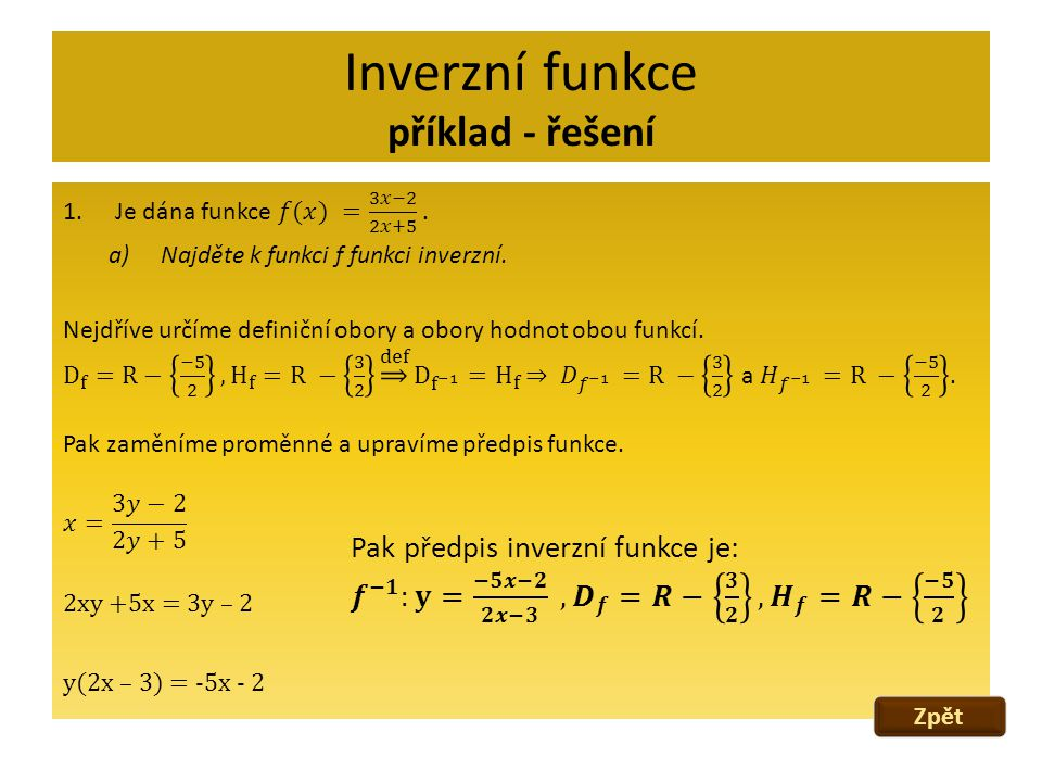 Inverzní funkce příklad - řešení Zpět