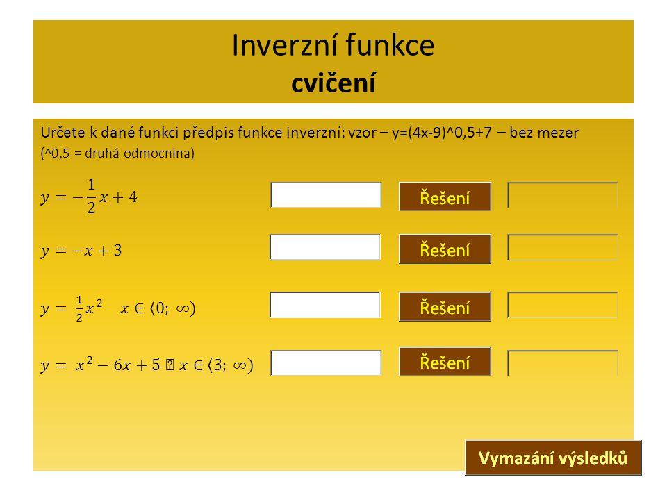 Inverzní funkce cvičení