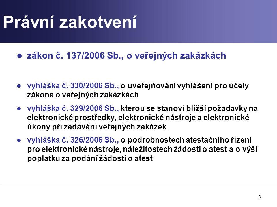 2 Právní zakotvení zákon č. 137/2006 Sb., o veřejných zakázkách vyhláška č. 330/2006 Sb., o uveřejňování vyhlášení pro účely zákona o veřejných zakázk