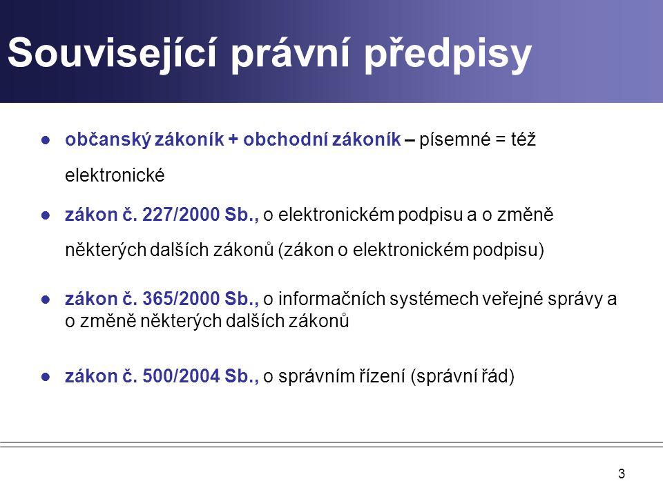 3 Související právní předpisy občanský zákoník + obchodní zákoník – písemné = též elektronické zákon č.