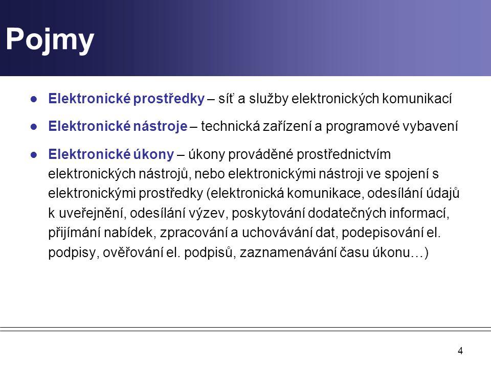 4 Pojmy Elektronické prostředky – síť a služby elektronických komunikací Elektronické nástroje – technická zařízení a programové vybavení Elektronické