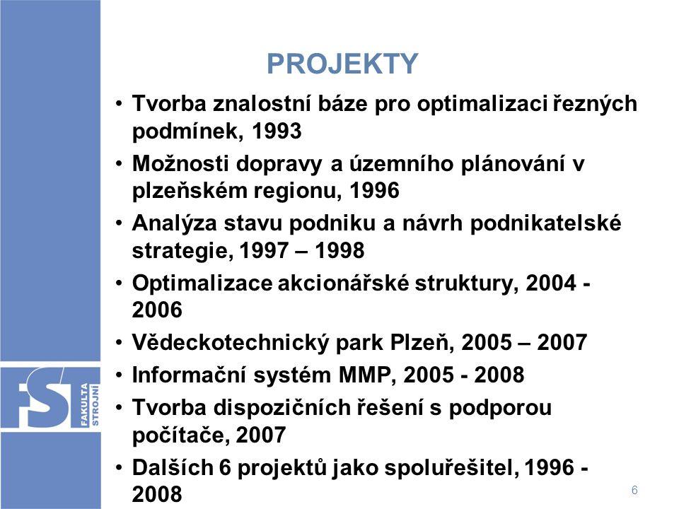 6 PROJEKTY Tvorba znalostní báze pro optimalizaci řezných podmínek, 1993 Možnosti dopravy a územního plánování v plzeňském regionu, 1996 Analýza stavu