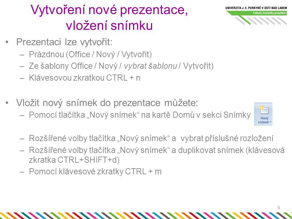 Prezentaci lze vytvořit: –Prázdnou (Office / Nový / Vytvořit) –Ze šablony Office / Nový / vybrat šablonu / Vytvořit) –Klávesovou zkratkou CTRL + n Vlo
