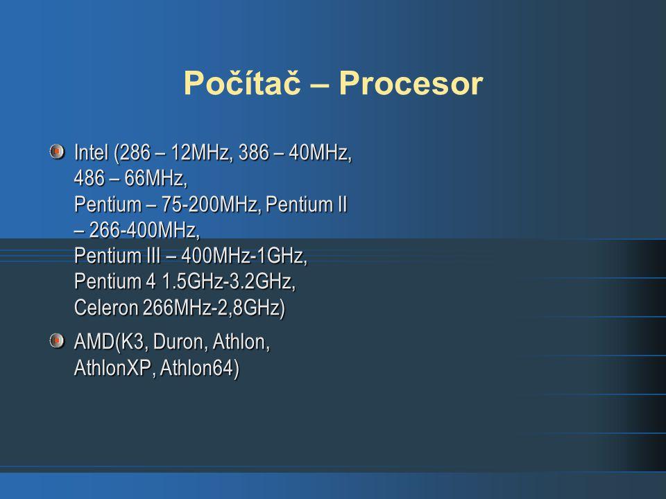Počítač – Procesor Intel (286 – 12MHz, 386 – 40MHz, 486 – 66MHz, Pentium – 75-200MHz, Pentium II – 266-400MHz, Pentium III – 400MHz-1GHz, Pentium 4 1.5GHz-3.2GHz, Celeron 266MHz-2,8GHz) AMD(K3, Duron, Athlon, AthlonXP, Athlon64)
