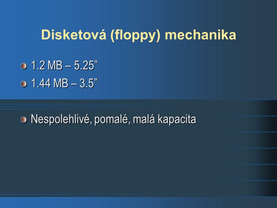 Disketová (floppy) mechanika 1.2 MB – 5.25 1.44 MB – 3.5 Nespolehlivé, pomalé, malá kapacita