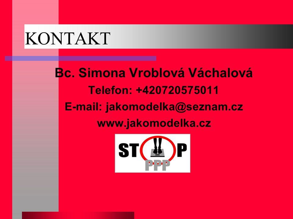 KONTAKT Bc. Simona Vroblová Váchalová Telefon: +420720575011 E-mail: jakomodelka@seznam.cz www.jakomodelka.cz