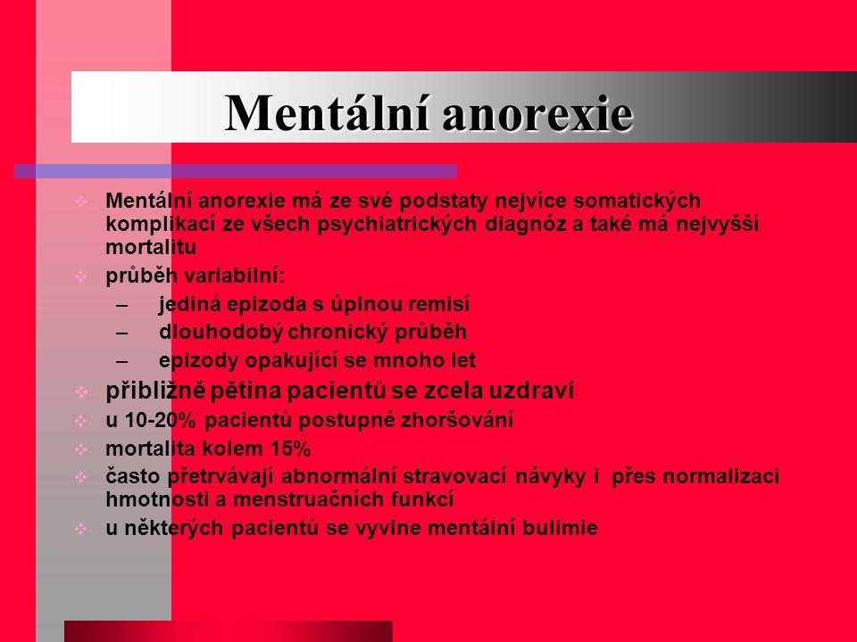 Mentální anorexie  Mentální anorexie má ze své podstaty nejvíce somatických komplikací ze všech psychiatrických diagnóz a také má nejvyšší mortalitu