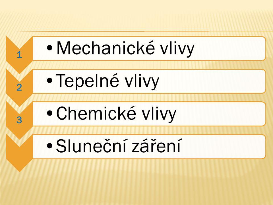 1 Mechanické vlivy 2 Tepelné vlivy 3 Chemické vlivySluneční záření