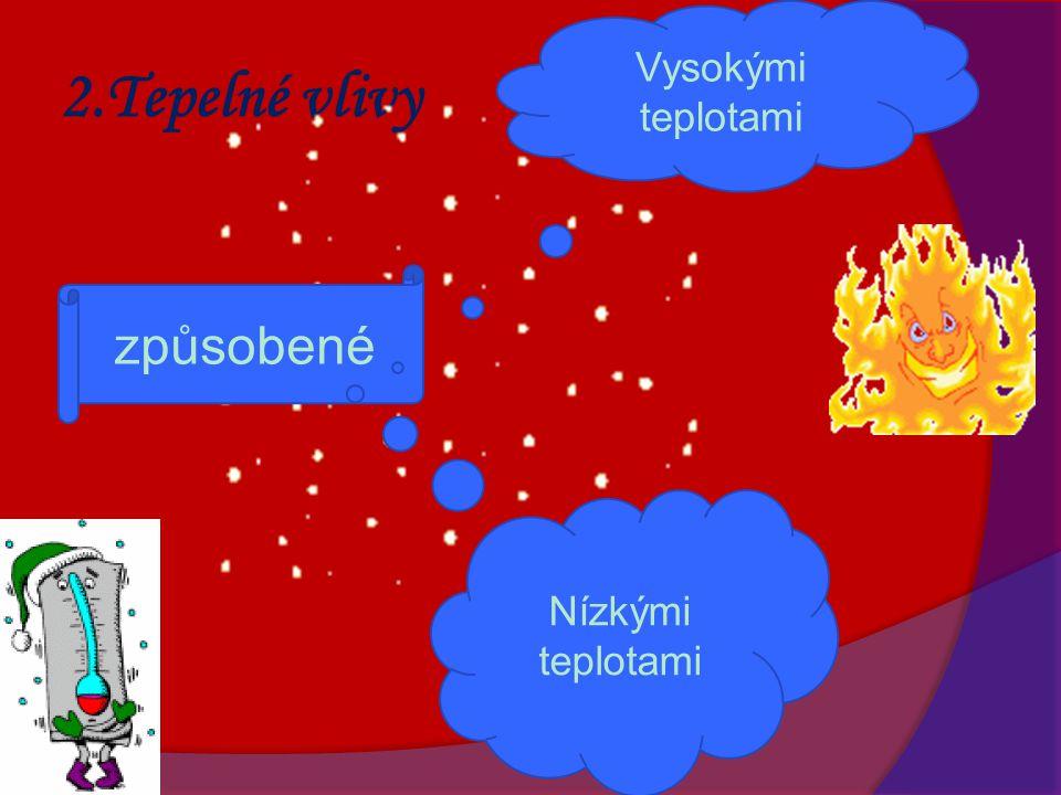 2.Tepelné vlivy způsobené Vysokými teplotami Nízkými teplotami