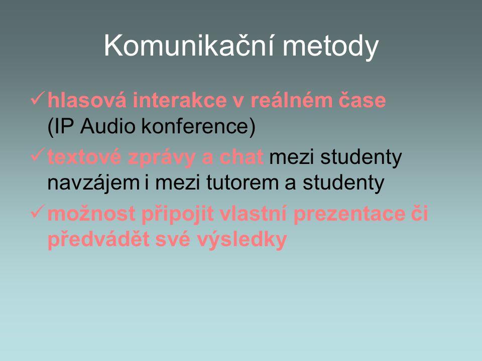 Komunikační metody hlasová interakce v reálném čase (IP Audio konference) textové zprávy a chat mezi studenty navzájem i mezi tutorem a studenty možnost připojit vlastní prezentace či předvádět své výsledky