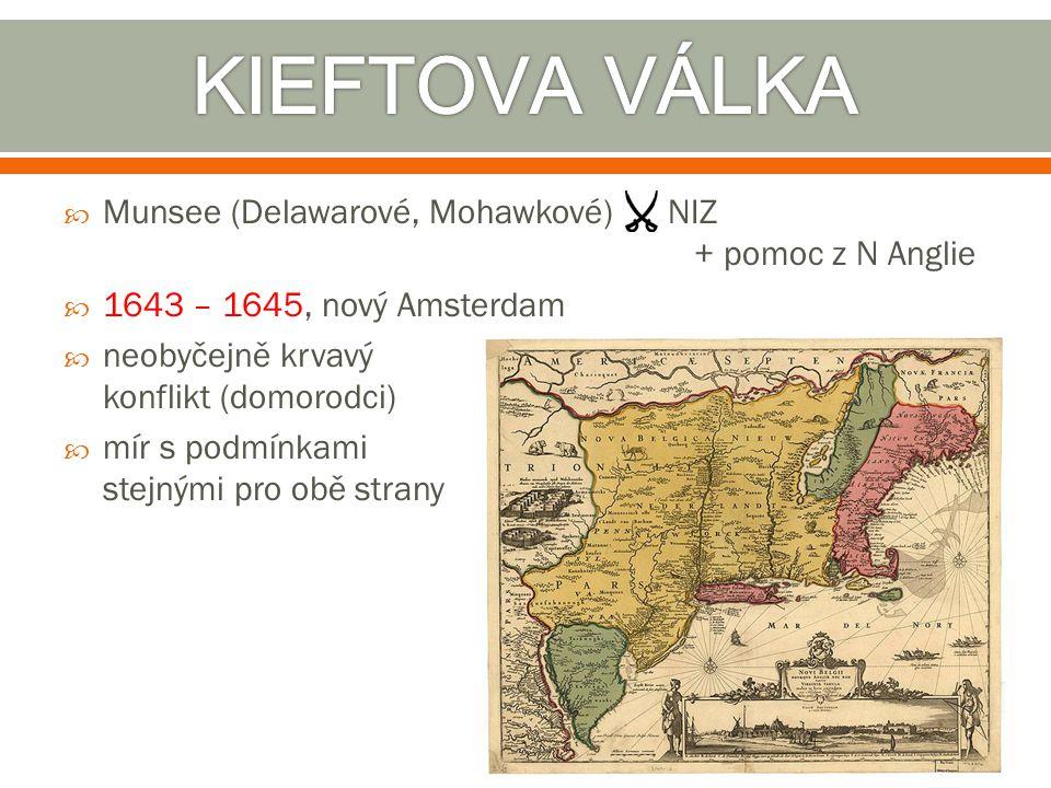  Munsee (Delawarové, Mohawkové) NIZ + pomoc z N Anglie  1643 – 1645, nový Amsterdam  neobyčejně krvavý konflikt (domorodci)  mír s podmínkami stej