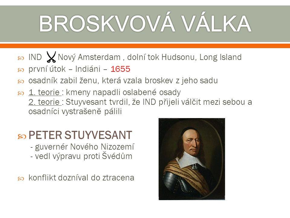  IND Nový Amsterdam, dolní tok Hudsonu, Long Island  první útok – Indiáni – 1655  osadník zabil ženu, která vzala broskev z jeho sadu  1. teorie :