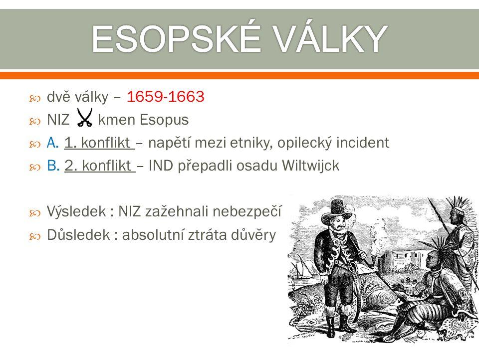  dvě války – 1659-1663  NIZ kmen Esopus  A. 1. konflikt – napětí mezi etniky, opilecký incident  B. 2. konflikt – IND přepadli osadu Wiltwijck  V