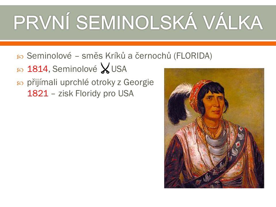  Seminolové – směs Kríků a černochů (FLORIDA)  1814, Seminolové USA  přijímali uprchlé otroky z Georgie 1821 – zisk Floridy pro USA