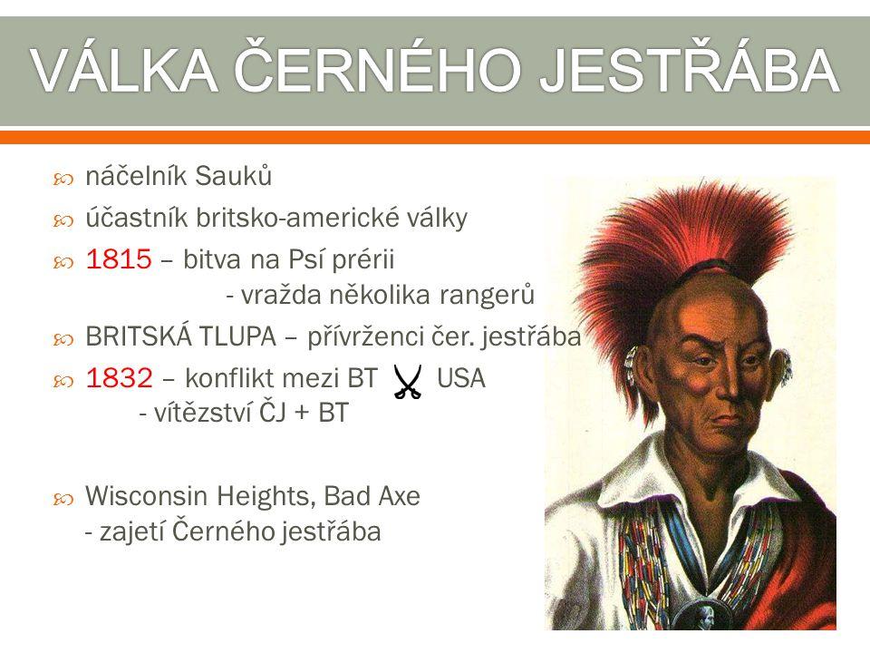  náčelník Sauků  účastník britsko-americké války  1815 – bitva na Psí prérii - vražda několika rangerů  BRITSKÁ TLUPA – přívrženci čer. jestřába 
