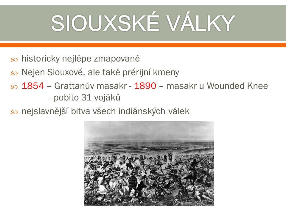  historicky nejlépe zmapované  Nejen Siouxové, ale také prérijní kmeny  1854 – Grattanův masakr - 1890 – masakr u Wounded Knee - pobito 31 vojáků 