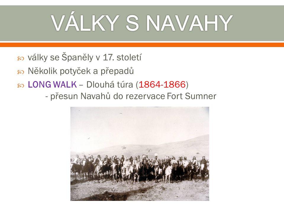  války se Španěly v 17. století  Několik potyček a přepadů  LONG WALK – Dlouhá túra (1864-1866) - přesun Navahů do rezervace Fort Sumner