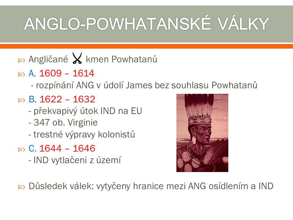  Angličané kmen Powhatanů  A. 1609 – 1614 - rozpínání ANG v údolí James bez souhlasu Powhatanů  B. 1622 – 1632 - překvapivý útok IND na EU - 347 ob