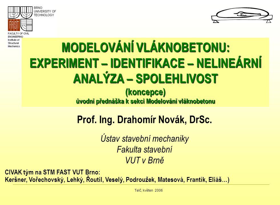 Telč, květen 2006 MODELOVÁNÍ VLÁKNOBETONU: EXPERIMENT – IDENTIFIKACE – NELINEÁRNÍ ANALÝZA – SPOLEHLIVOST (koncepce) úvodní přednáška k sekci Modelován