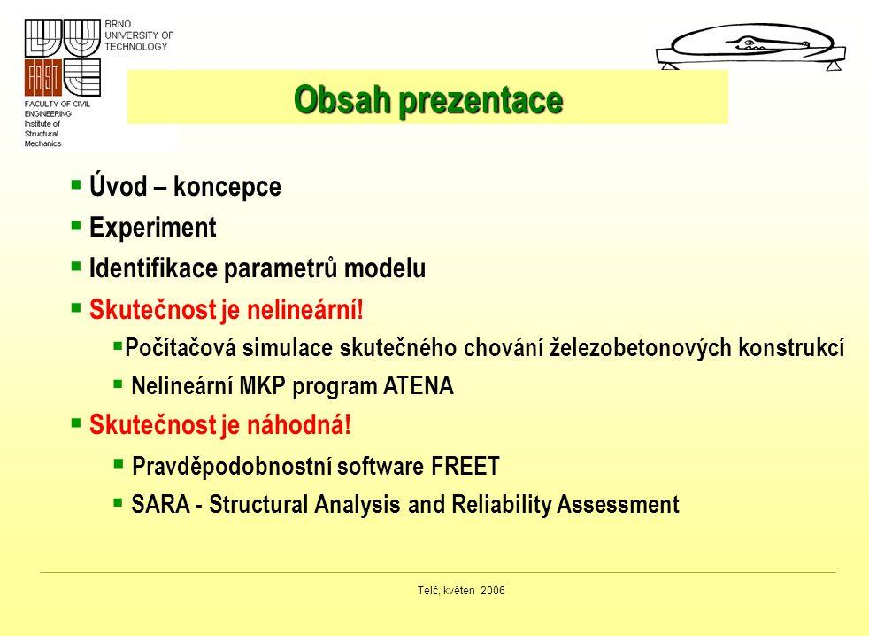Telč, květen 2006 Obsah prezentace  Úvod – koncepce  Experiment  Identifikace parametrů modelu  Skutečnost je nelineární!  Počítačová simulace sk