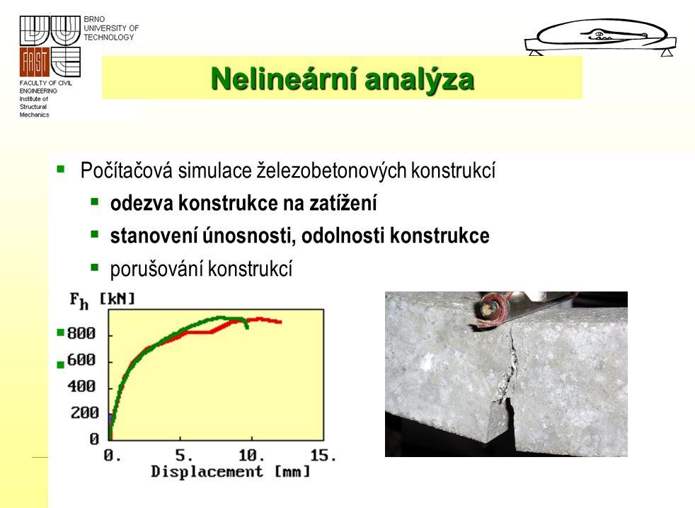 Telč, květen 2006  Počítačová simulace železobetonových konstrukcí  odezva konstrukce na zatížení  stanovení únosnosti, odolnosti konstrukce  poru