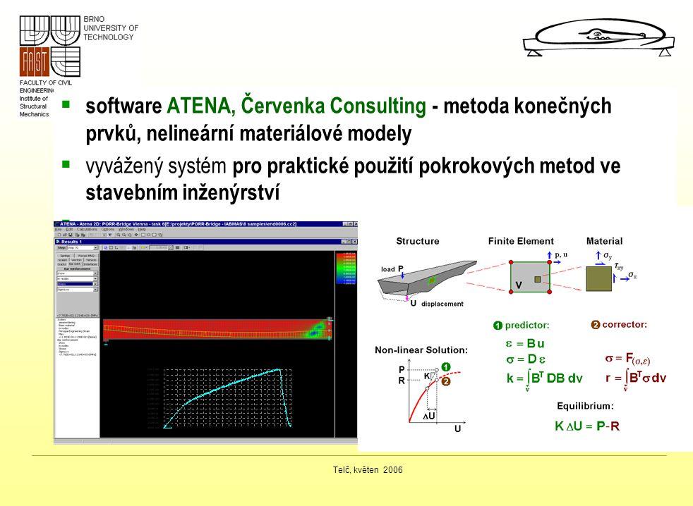 Telč, květen 2006  software ATENA, Červenka Consulting - metoda konečných prvků, nelineární materiálové modely  vyvážený systém pro praktické použit
