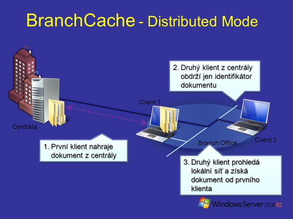 1.První klient nahraje dokument z centrály BranchCache - Distributed Mode Centrála Client 1 Client 2 2.Druhý klient z centrály obdrží jen identifikátor dokumentu 3.Druhý klient prohledá lokální síť a získá dokument od prvního klienta Branch Office
