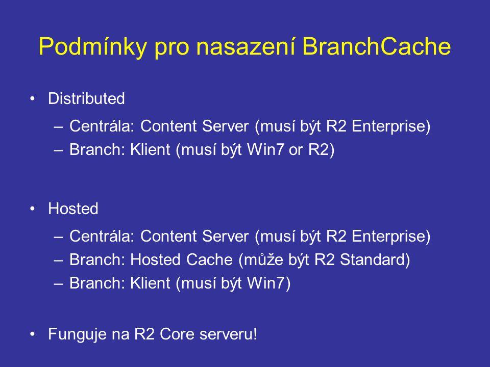 Podmínky pro nasazení BranchCache Distributed –Centrála: Content Server (musí být R2 Enterprise) –Branch: Klient (musí být Win7 or R2) Hosted –Centrála: Content Server (musí být R2 Enterprise) –Branch: Hosted Cache (může být R2 Standard) –Branch: Klient (musí být Win7) Funguje na R2 Core serveru!