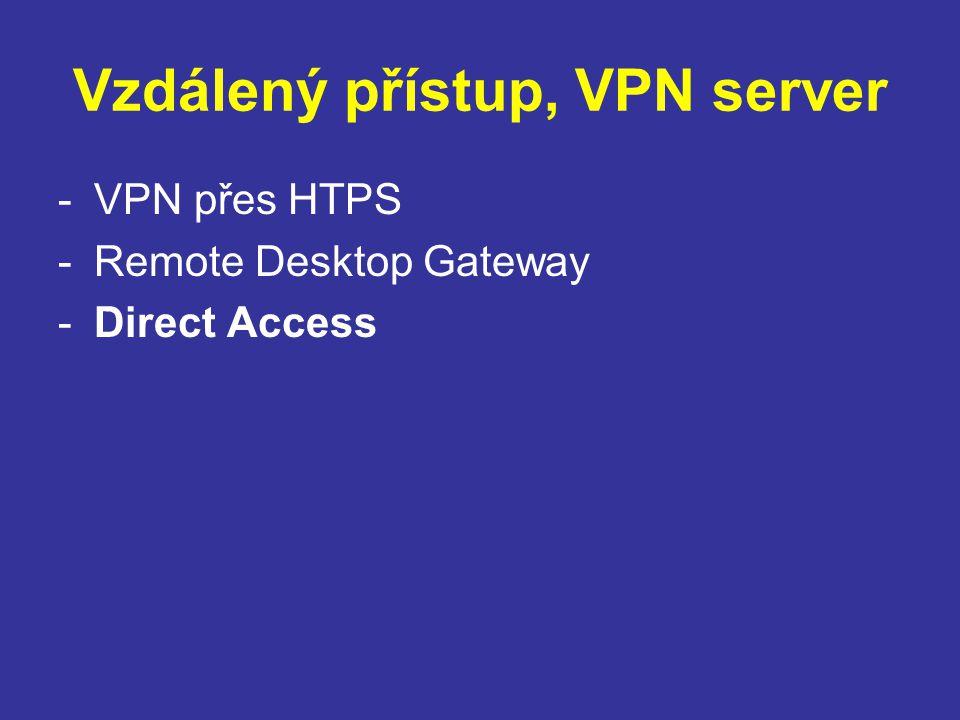 Vzdálený přístup, VPN server -VPN přes HTPS -Remote Desktop Gateway -Direct Access