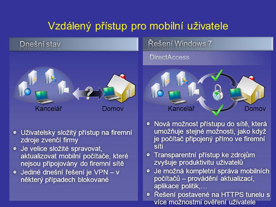 Vzdálený přístup pro mobilní uživatele Nová možnost přístupu do sítě, která umožňuje stejné možnosti, jako když je počítač připojený přímo ve firemní síti Transparentní přístup ke zdrojům zvyšuje produktivitu uživatelů Je možná kompletní správa mobilních počítačů – provádění aktualizací, aplikace politik,… Řešení postavené na HTTPS tunelu s více možnostmi ověření uživatele Uživatelsky složitý přístup na firemní zdroje zvenčí firmy Je velice složité spravovat, aktualizovat mobilní počítače, které nejsou připojovány do firemní sítě Jediné dnešní řešení je VPN – v některý případech blokované DomovKancelářDomovKancelář