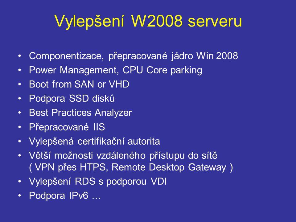 Vylepšení W2008 serveru Componentizace, přepracované jádro Win 2008 Power Management, CPU Core parking Boot from SAN or VHD Podpora SSD disků Best Practices Analyzer Přepracované IIS Vylepšená certifikační autorita Větší možnosti vzdáleného přístupu do sítě ( VPN přes HTPS, Remote Desktop Gateway ) Vylepšení RDS s podporou VDI Podpora IPv6 …