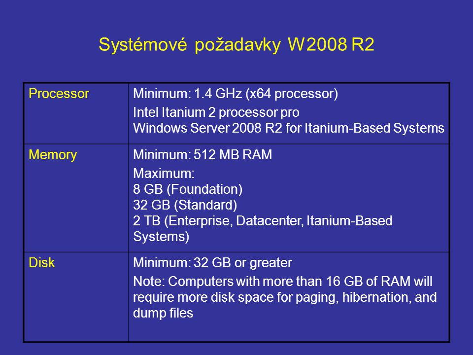 Systémové požadavky W2008 R2 ProcessorMinimum: 1.4 GHz (x64 processor) Intel Itanium 2 processor pro Windows Server 2008 R2 for Itanium-Based Systems