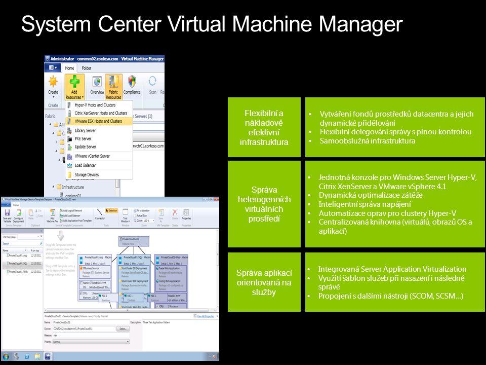 Flexibilní a nákladově efektivní infrastruktura Správa heterogenních virtuálních prostředí Správa aplikací orientovaná na služby Vytváření fondů prostředků datacentra a jejich dynamické přidělování Flexibilní delegování správy s plnou kontrolou Samoobslužná infrastruktura Jednotná konzole pro Windows Server Hyper-V, Citrix XenServer a VMware vSphere 4.1 Dynamická optimalizace zátěže Inteligentní správa napájení Automatizace oprav pro clustery Hyper-V Centralizovaná knihovna (virtuálů, obrazů OS a aplikací) Integrovaná Server Application Virtualization Využití šablon služeb při nasazení i následné správě Propojení s dalšími nástroji (SCOM, SCSM…)