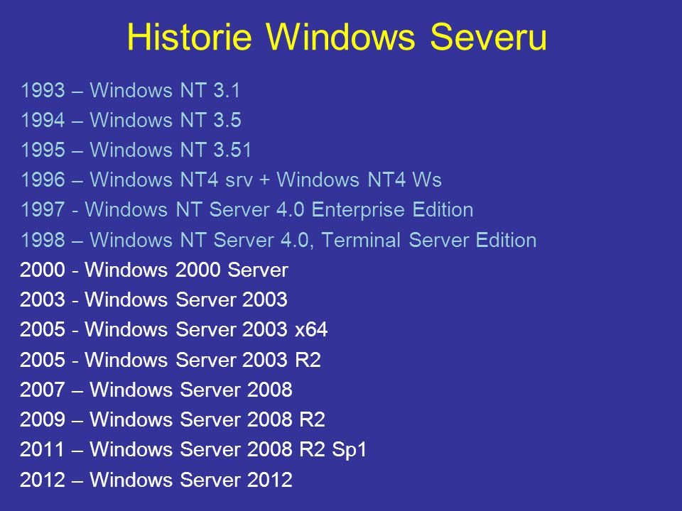 Historie Windows Severu 1993 – Windows NT 3.1 1994 – Windows NT 3.5 1995 – Windows NT 3.51 1996 – Windows NT4 srv + Windows NT4 Ws 1997 - Windows NT S