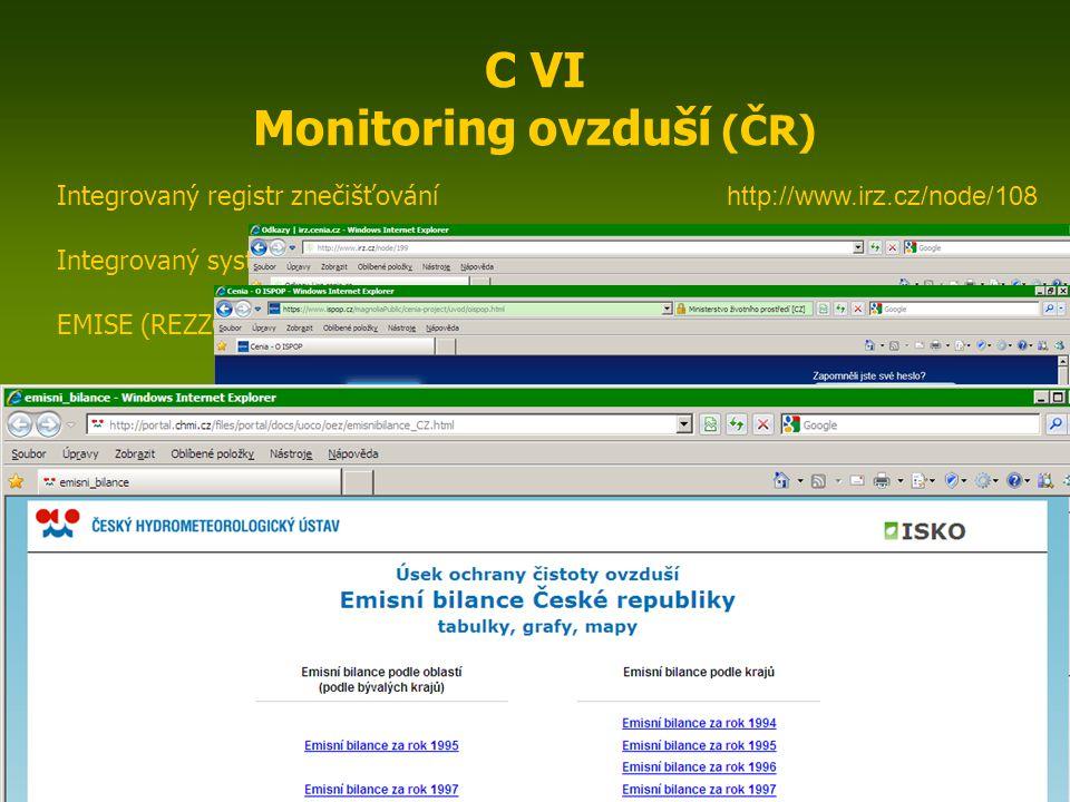 ENIN - C VI Monitoring ovzduší4 C VI Monitoring ovzduší (ČR) Český hydrometeorologický ústav http://www.chmi.cz Automatizovaný imisní monitoring (AIM) ISKO (Informace o kvalitě ovzduší – aktuální) http://portal.chmi.cz/portal/dt?portal_lang=cs&nc=1&menu=JSPTabContainer/P10_0_Aktualni_situace/P10_3_Ovzdusi&last=false ISKO (Informace o kvalitě ovzduší – překročení limitů) http://portal.chmi.cz/files/portal/docs/uoco/web_generator/exceed/summary/index_CZ.html Mapy znečištění ovzduší http://pr-asv.chmi.cz/IskoPollutionMapView/faces/pollutionmapvw/viewMapImages.jsf EMIS Zdroje znečišťování (mapa + tabulky) http://portal.chmi.cz/files/portal/docs/uoco/web_generator/plants/index_CZ.html Tabelární ročenky http://portal.chmi.cz/files/portal/docs/uoco/isko/tab_roc/tab_roc_CZ.html Grafické ročenky http://portal.chmi.cz/files/portal/docs/uoco/isko/grafroc/grafroc_CZ.html Oblasti se zhoršenou kvalitou ovzduší (OZKO) http://portal.chmi.cz/files/portal/docs/uoco/isko/ozko/ozko_CZ.html Data AIM v grafech http://pr-asv.chmi.cz/IskoAimDataView/faces/aimdatavw/viewChart.jsf