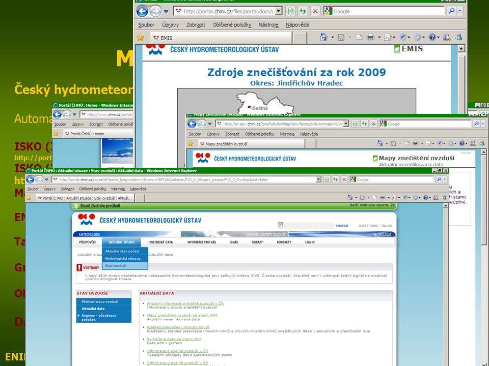 ENIN - C VI Monitoring ovzduší4 C VI Monitoring ovzduší (ČR) Český hydrometeorologický ústav http://www.chmi.cz Automatizovaný imisní monitoring (AIM)