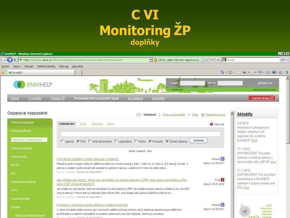 ENIN - C VI Monitoring ovzduší6 C VI Monitoring ŽP doplňky Informace o klimatu http://old.chmi.cz/meteo/ok/atlas/uvod.html http://www.trasovnik.cz/k_ainfcr/klimapis/klimapis.asp http://portal.chmi.cz/portal/dt Státní zdravotní ústav ( Hygiena životního prostředí, Pracovní prostředí a zdraví, Bezpečnost potravin a předmětů běžného užívání a další témata) http://www.szu.cz/ Operační program Životní prostředí http://www.opzp.cz/ ENVIHELP https://helpdesk.cenia.cz/hdPublic/helpdesk/