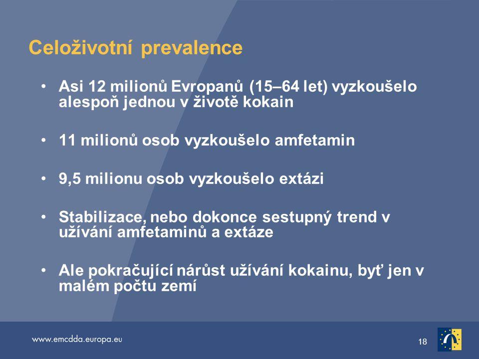 18 Celoživotní prevalence Asi 12 milionů Evropanů (15–64 let) vyzkoušelo alespoň jednou v životě kokain 11 milionů osob vyzkoušelo amfetamin 9,5 milionu osob vyzkoušelo extázi Stabilizace, nebo dokonce sestupný trend v užívání amfetaminů a extáze Ale pokračující nárůst užívání kokainu, byť jen v malém počtu zemí