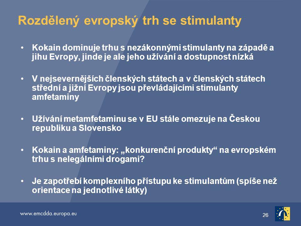 """26 Rozdělený evropský trh se stimulanty Kokain dominuje trhu s nezákonnými stimulanty na západě a jihu Evropy, jinde je ale jeho užívání a dostupnost nízká V nejsevernějších členských státech a v členských státech střední a jižní Evropy jsou převládajícími stimulanty amfetaminy Užívání metamfetaminu se v EU stále omezuje na Českou republiku a Slovensko Kokain a amfetaminy: """"konkurenční produkty na evropském trhu s nelegálními drogami."""